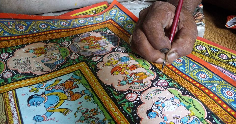 Image result for Process pattachitra painting
