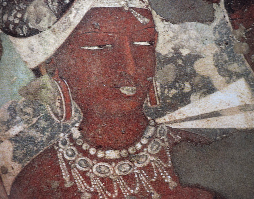 Ajanta painting with bead jewelry