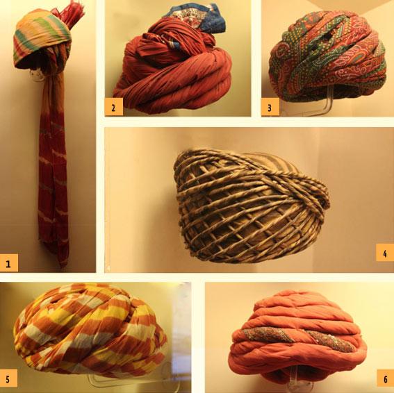 1. Jodhpuri safa, 2. Rabari, Bridegroom safa; Barmer, 3. Bhaat safa, Bhaat community,Barmer, 4. Samode pagh, worn during monsoon,5. Gol safa, worn by many communities around Jodhpur, 6. Dharangdhra safa,Pink chiffon Royal turban of Gujarat.